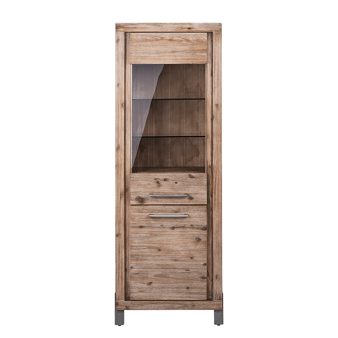 Küchen Highboard Vitrine Schrank Massivholz Akazie Grau Kommode Highboard