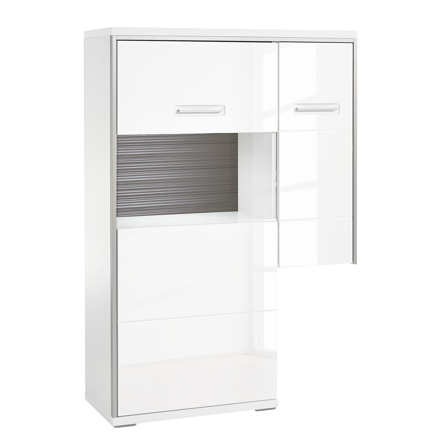Glastür Metallrahmen Highboard Kushiro Iii Hochglanz Weiß Grau Glastür Links