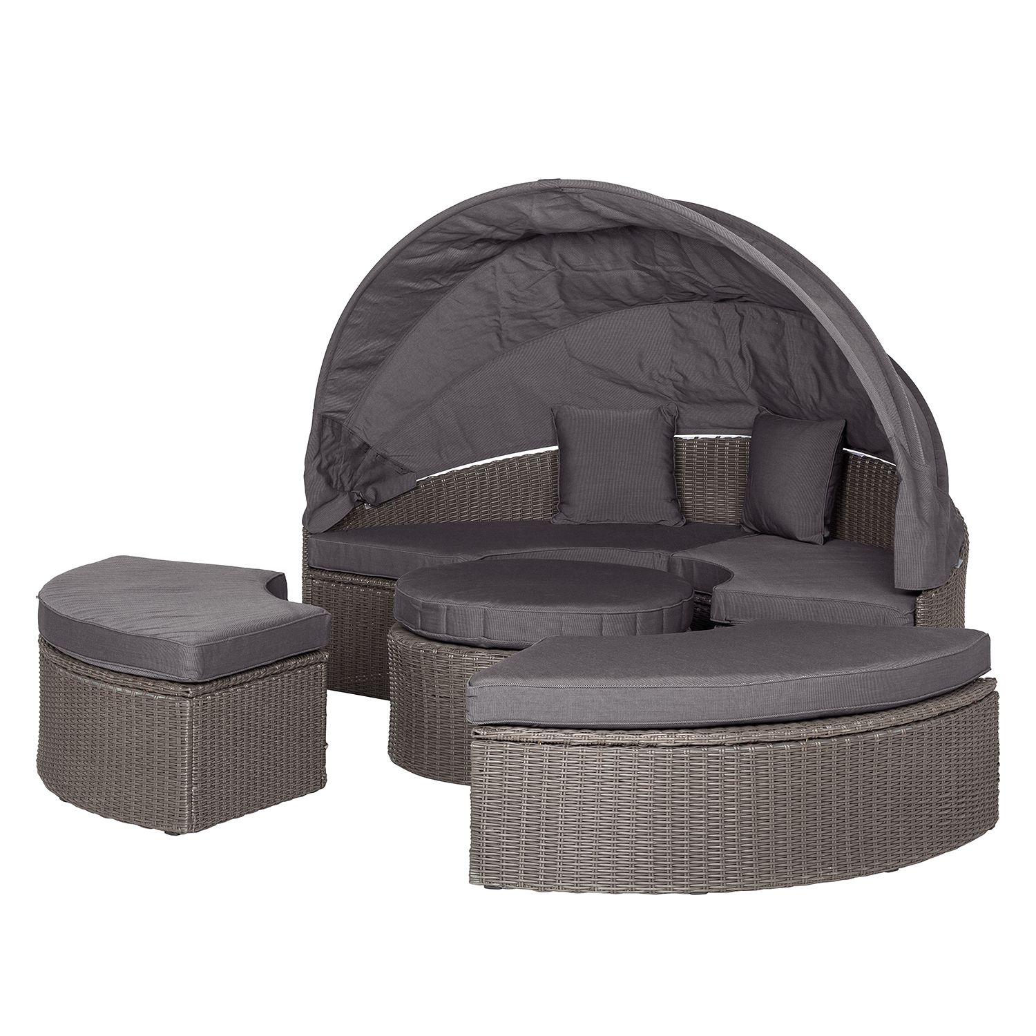 Gartenmuscheln Sonneninsel Rattan Grau Exclusive Poly Rattan Sonneninsel