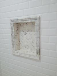 French Country Bathroom in Humble - carrera marble tile ...