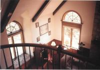 Lodge Living Room in Bridgeville - arched windows, stained ...