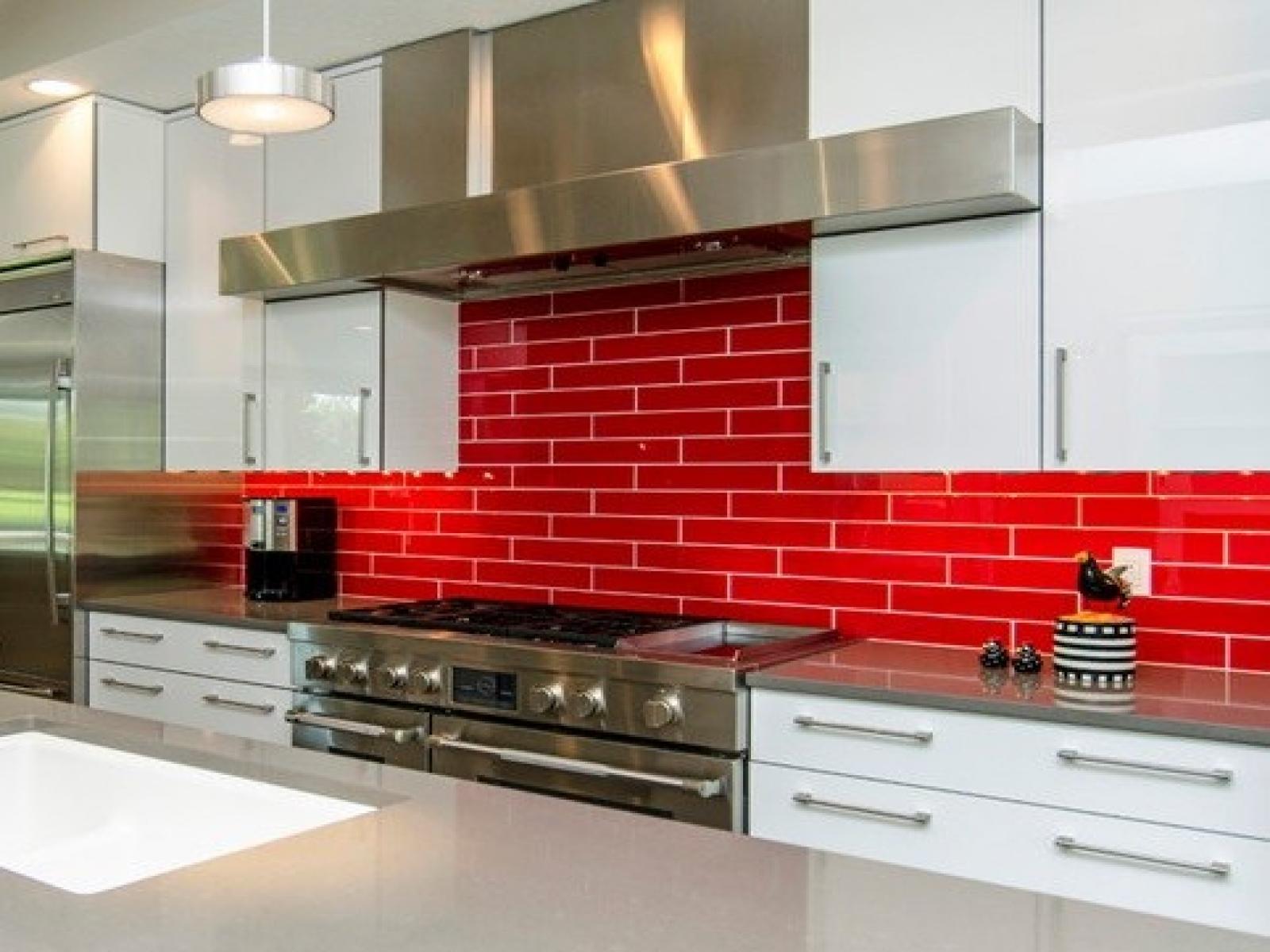 3 backsplash kitchen Bright Red Backsplash