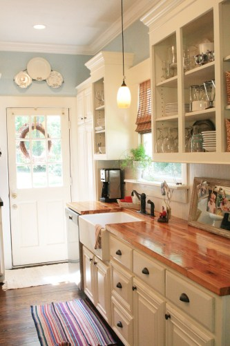 best rustic country kitchen design ideas kitchen design ideas Wood Counters Add Warmth to a Clean White Kitchen