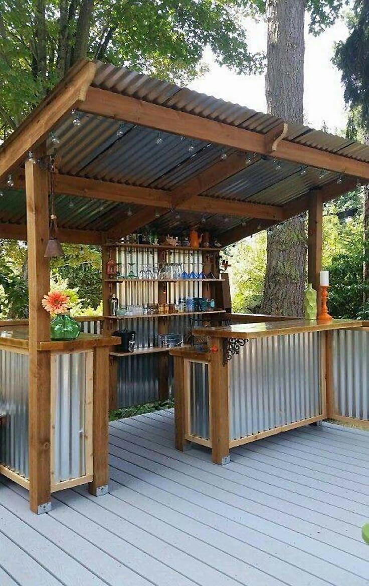 best outdoor kitchen ideas outdoor kitchen ideas DIY Corrugated Metal Outdoor Bar