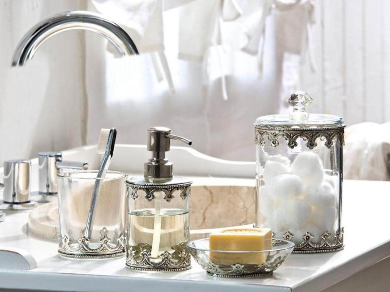 Vintage inspired metal and glass bathroom accessories