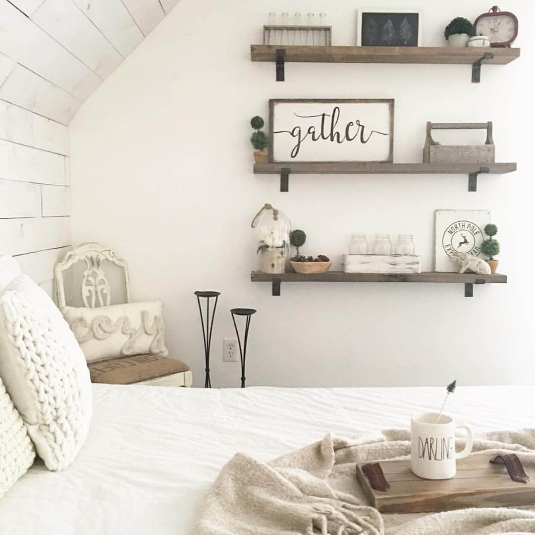 Bedroom Wall Shelves Decorating Ideas 39 Best Farmhouse Bedroom Design And Decor Ideas For 2017