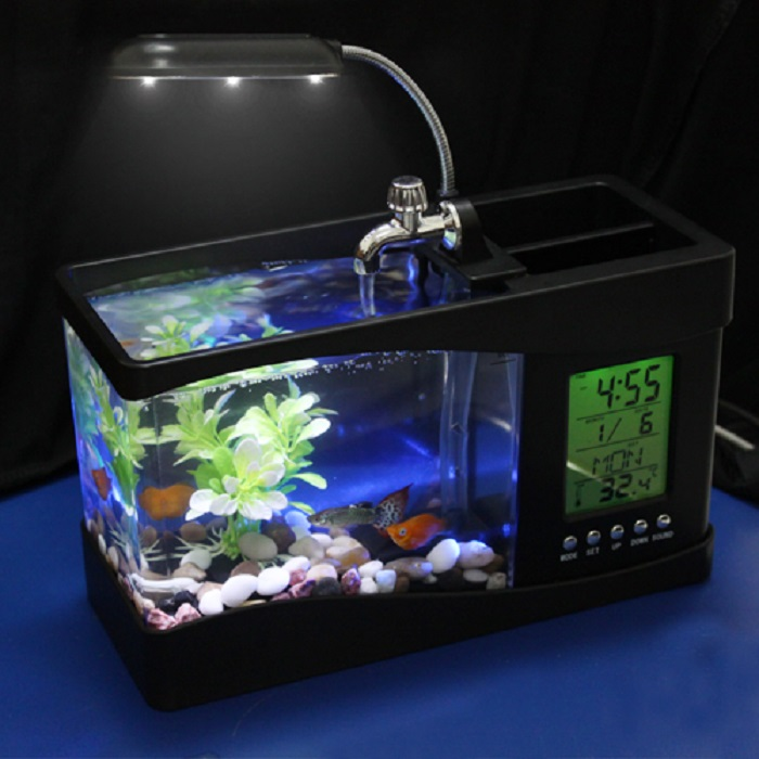 Portable USB Desktop Fish Aquarium Desk Organizer