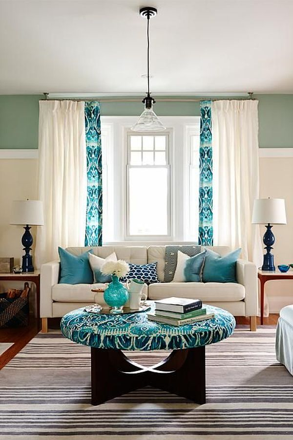 How To Decorate Your Living Room With Turquoise Accents - turquoise curtains for living room