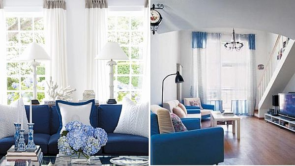 Cortinas Blancas Con Rayas Verdes Blue And White Living Room