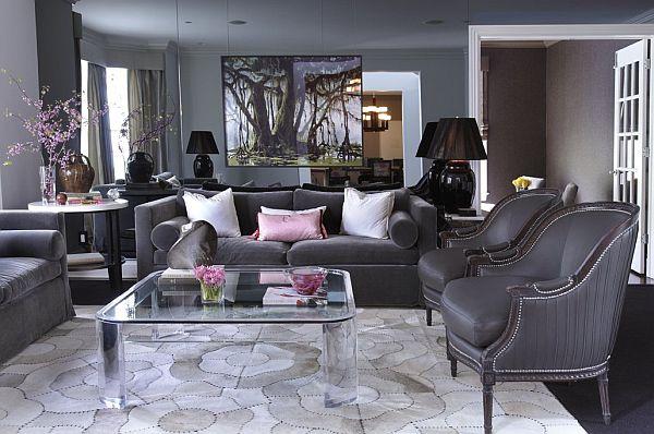 21 Gray living room design ideas - purple and grey living room