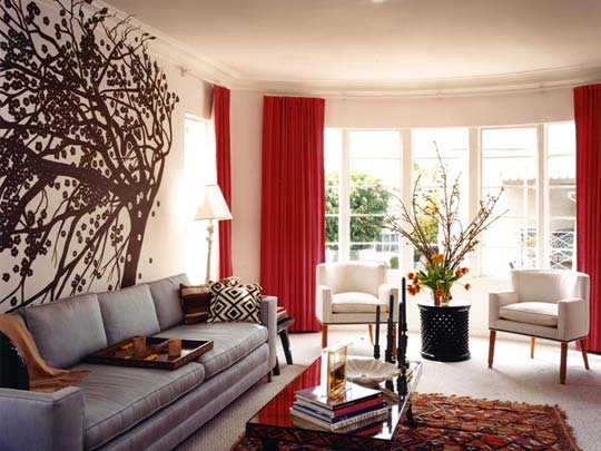 15 Red living room design ideas - red curtains for living room