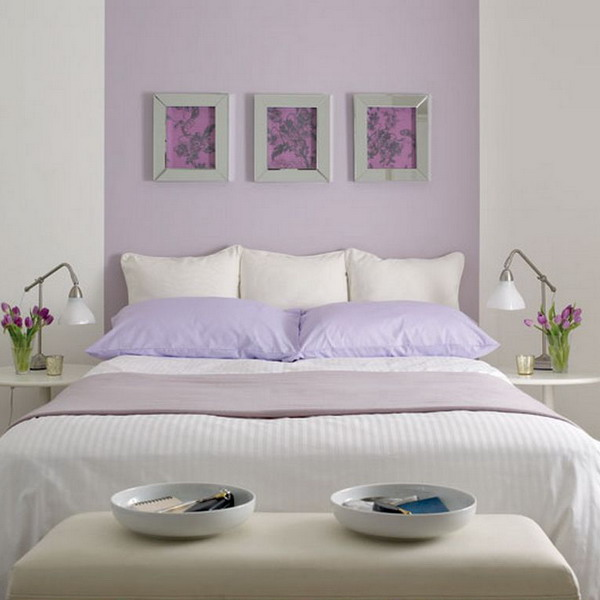 purple and white bedroom combination