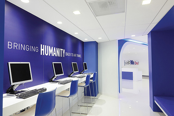 The bold Jet Blue offices by HLW International