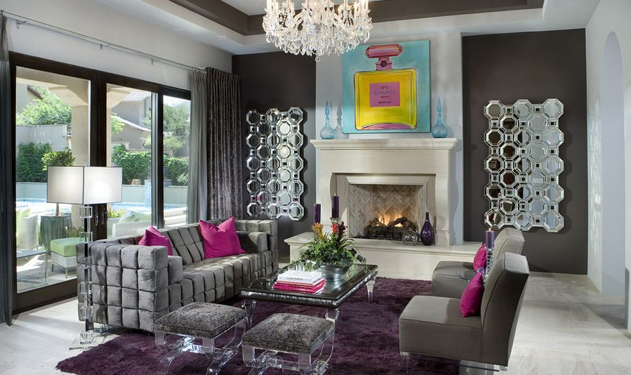 Interior Design Ideas For A Glamorous Living Room - purple and grey living room
