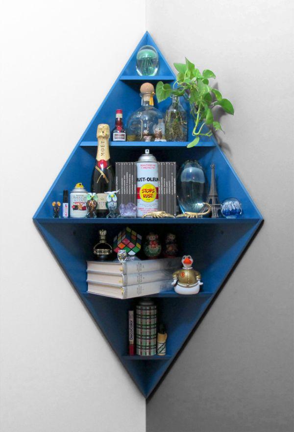 Chic 5-level diamond corner shelf - living room corner shelf
