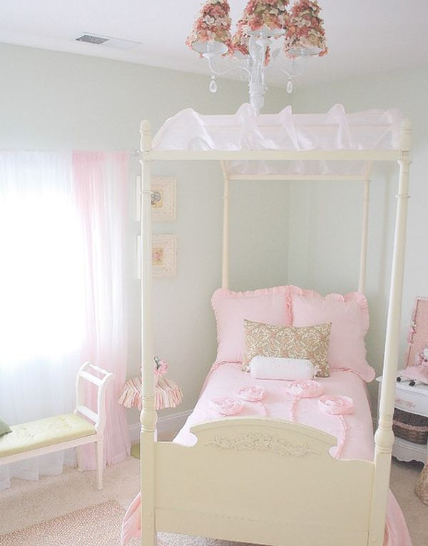 Delicate and serene girl s bedroom featuring a simple canopy bed