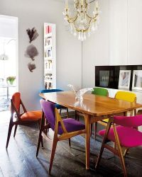 Multi-colored dining chairs  a playful touch for the dcor