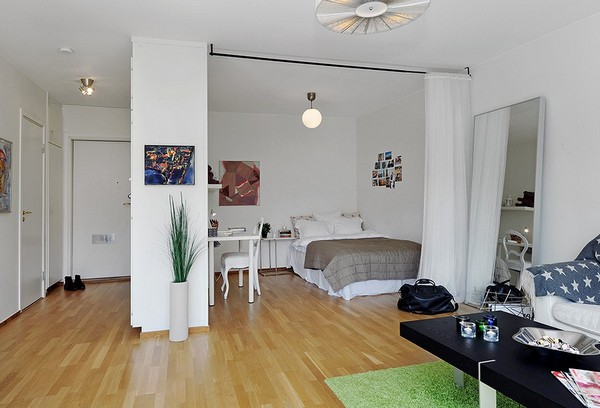 10 Small One Room Apartments Featuring A Scandinavian Décor - bedroom living room combo