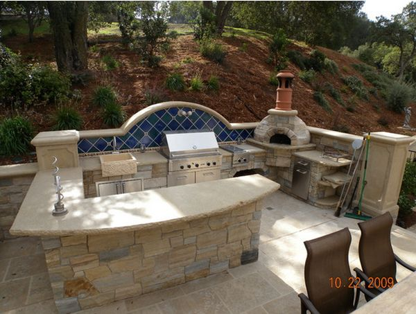 Outdoor Kitchen Designs Featuring Pizza Ovens, Fireplaces And - outside kitchen designs