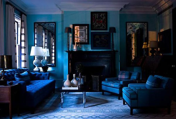 Teal Sofa Dipped In Blueberry: Monochromatic Rooms