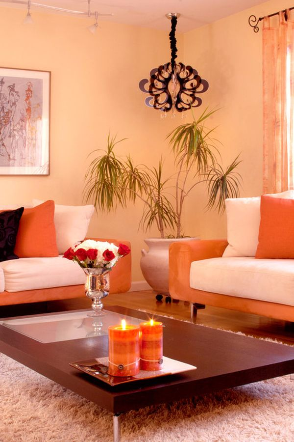 Dipped in Peach Monochromatic Rooms - peach living room