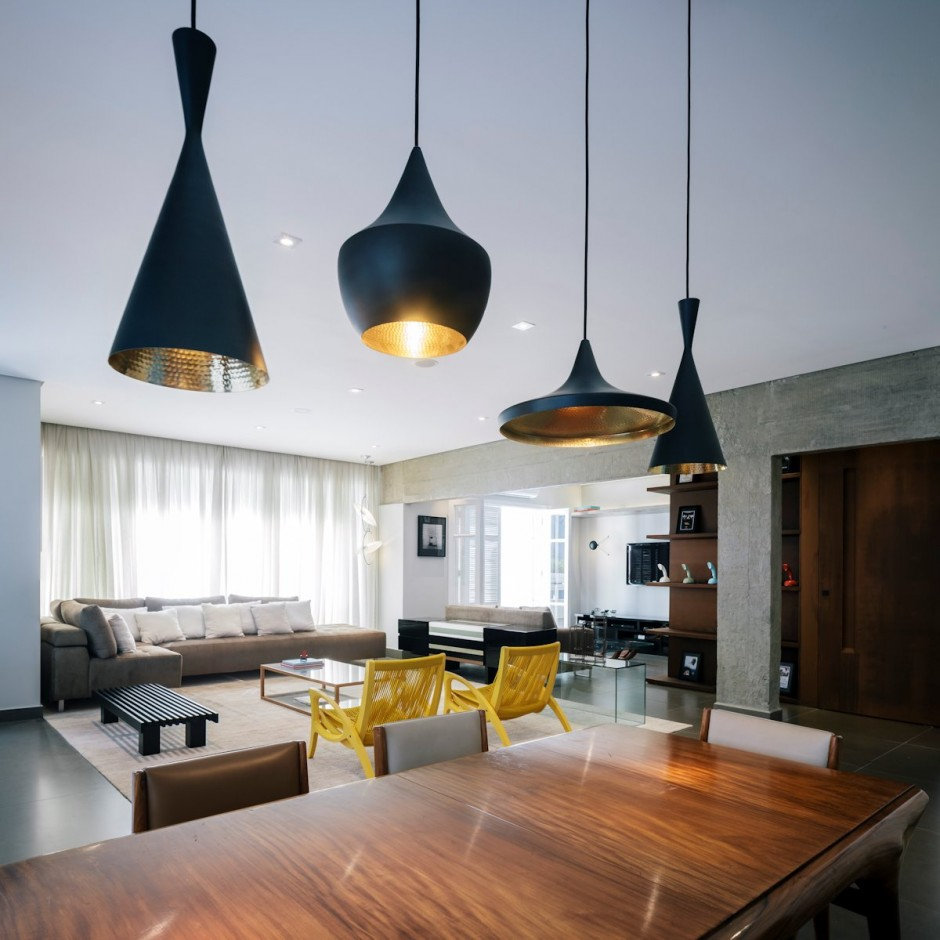 renovated apartment by architect flavio castro lighting above kitchen table Home Decorating Trends Homedit