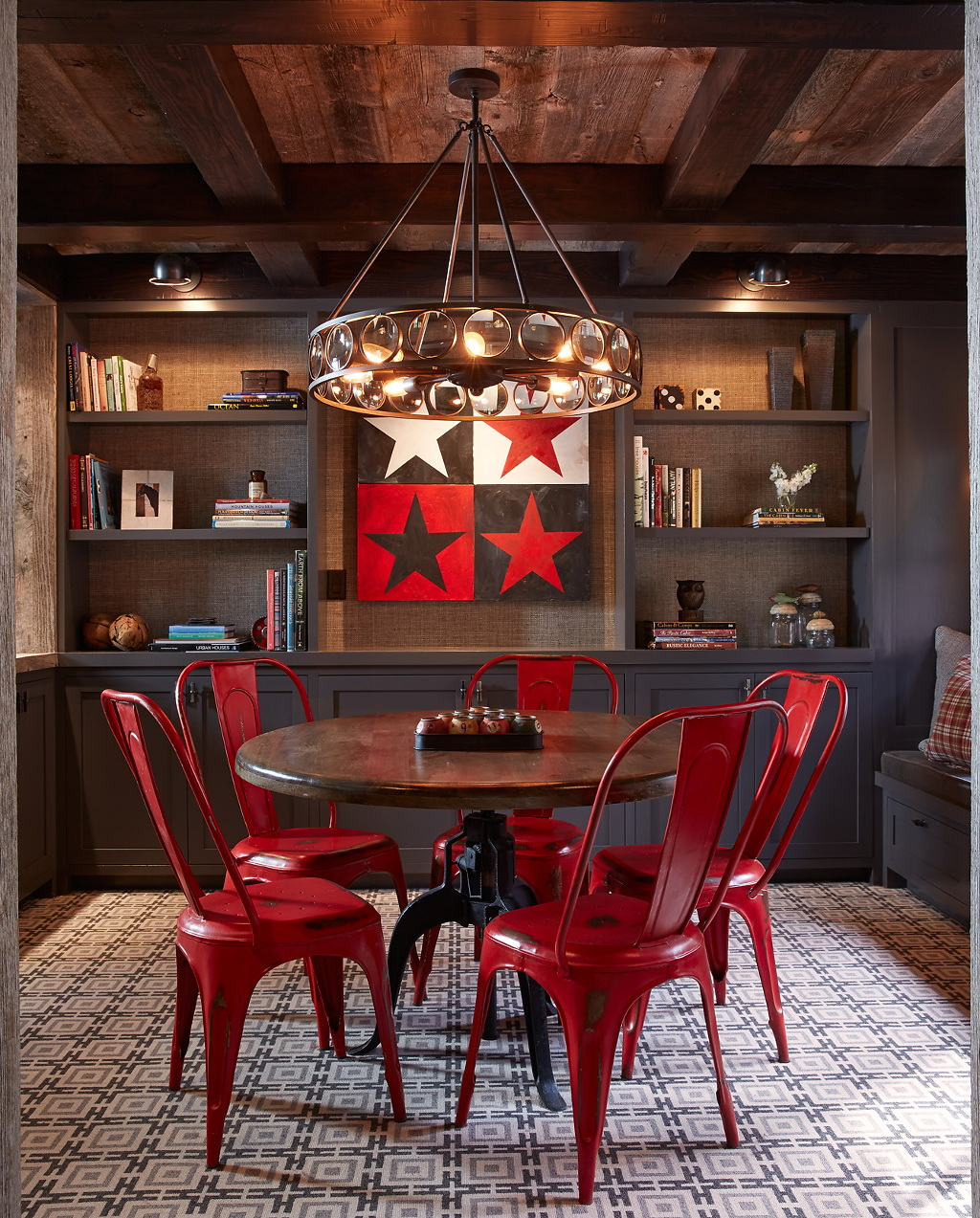 dining room red chairs red kitchen table View in gallery