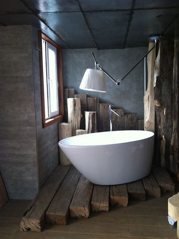 Wood Beams Floor Under Bathtub Bathroom Rustic Design Home Decorating Trends Homedit