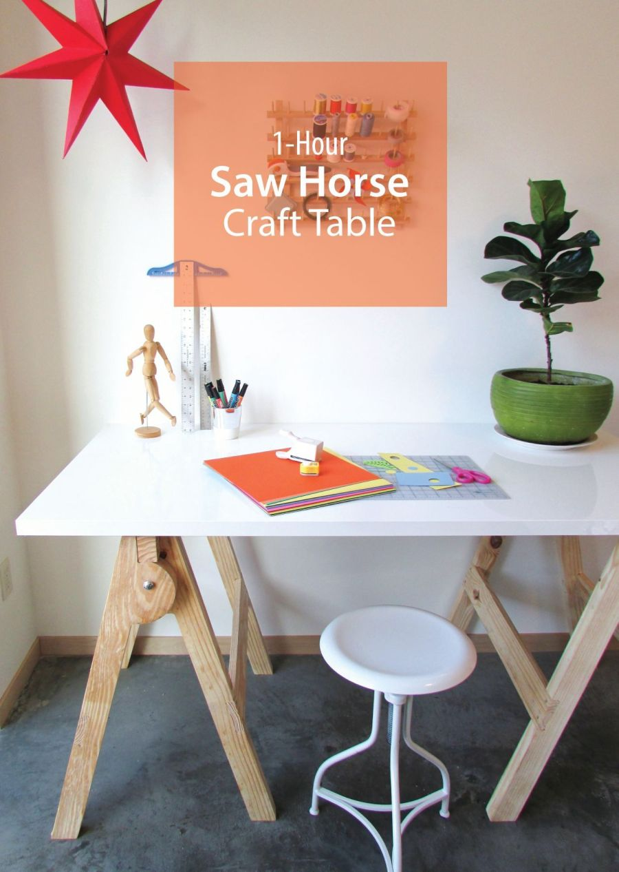Ikea Long Desk 1-hour Saw Horse Craft Table