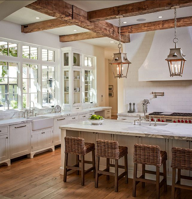 French Country Kitchen Backsplash Exposed-ceiling-beams-in-kitchen-rattan-bar-stools - Home