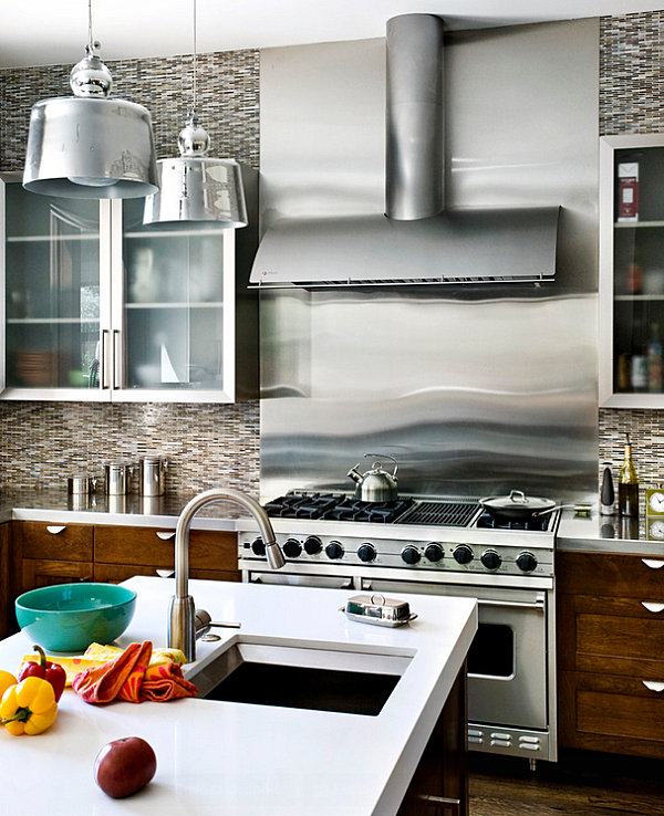 stainless steel backsplashes flexible stainless steel subway tile kitchen backsplash large stainless
