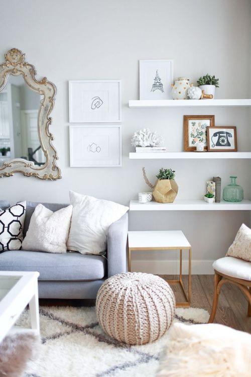 Medium Of Floating White Wall Shelves