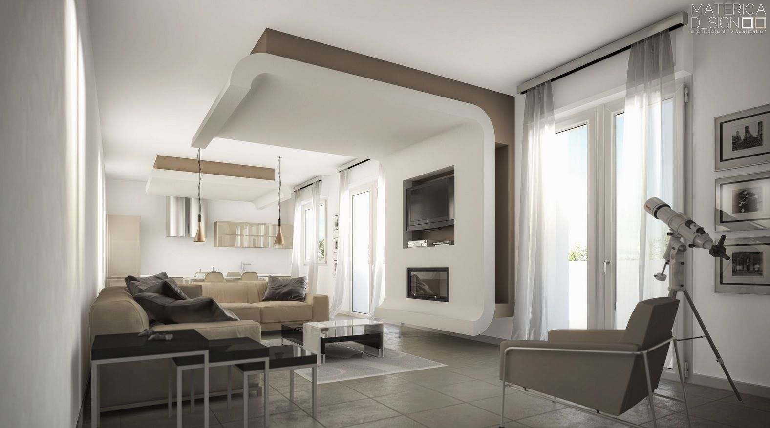 Taupe white living room contrast
