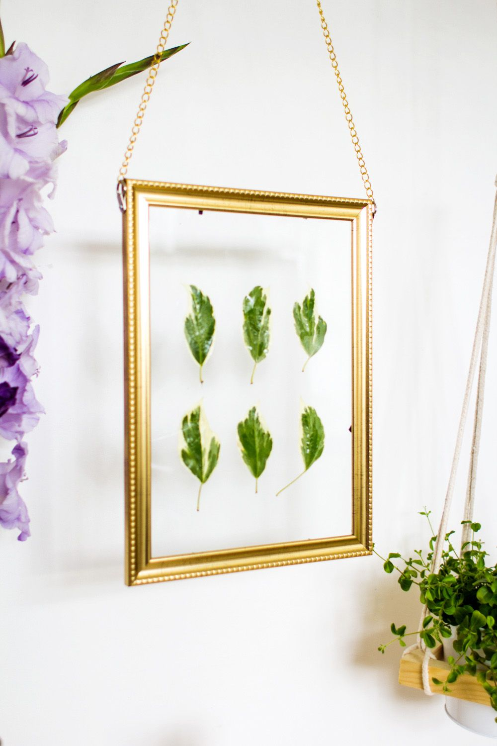 Diy Picture Frame Glass Diy Hanging Gold Frame Leaf Art