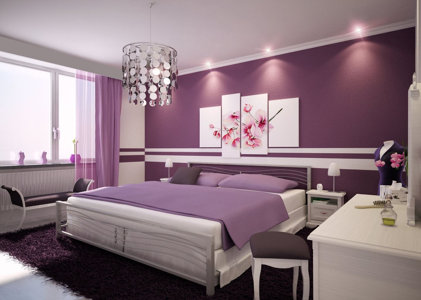 Purple Light Bulb Room Monochromatic Style In The Bedroom One Color Many Meanings