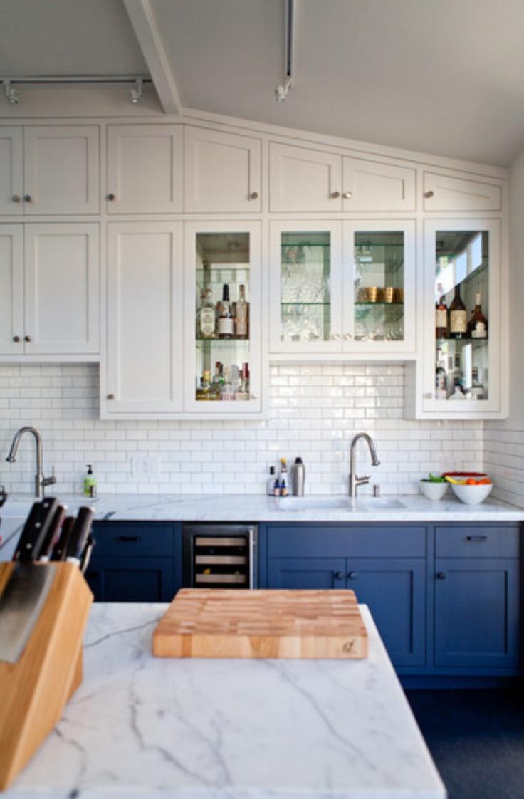 bi colored kitchen cabinets blue kitchen cabinets bright blue cabinets