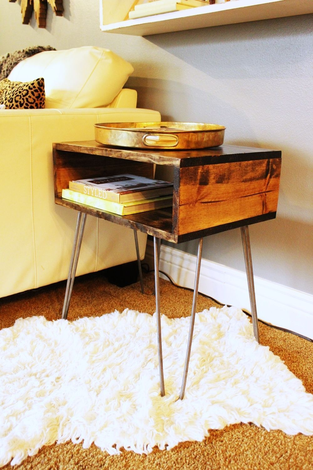 Diy Desk With Hairpin Legs Diy Hairpin Leg Side Table