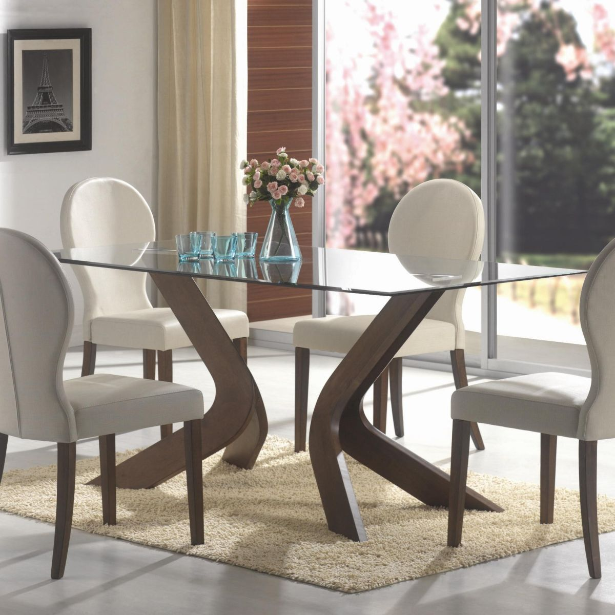 glass top dining table small square kitchen table Oval back dining chairs and glass top table