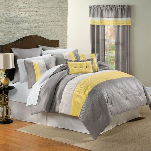 yellow and gray bedding bedroom
