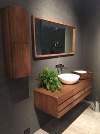 Floating wood vanity with a mid century flair - Home ...