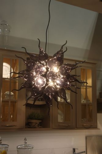 kitchen lighting kitchen chandelier lighting To make an artful statement there s nothing like a blown glass light fixture These