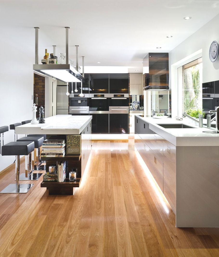 wood laminate flooring for your kitchen kitchen wood floors Soft Hidden Light Laminate Flooring Contemporary Kitchen Design