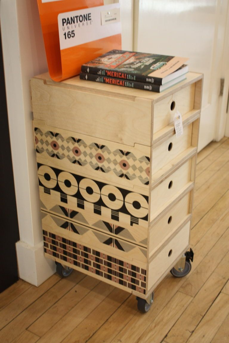 The 2 Do Credenza from Valley Variety is customizable with three or four drawers on a skateboard castor base with lockable wheels. We just love the different designs on the sides and the ability to mix! The unit is made from Birch plywood sealed with natural beeswax.