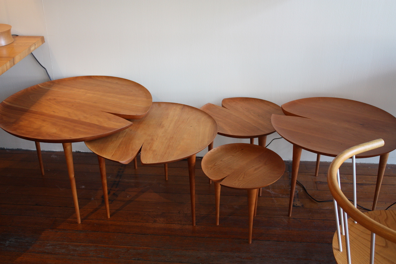 Beautiful wood and an elegant design, these lily pad tables are available in four sizes, from tiny to large. For us, they are a perfect occasional table, used wither solo or in a grouping.