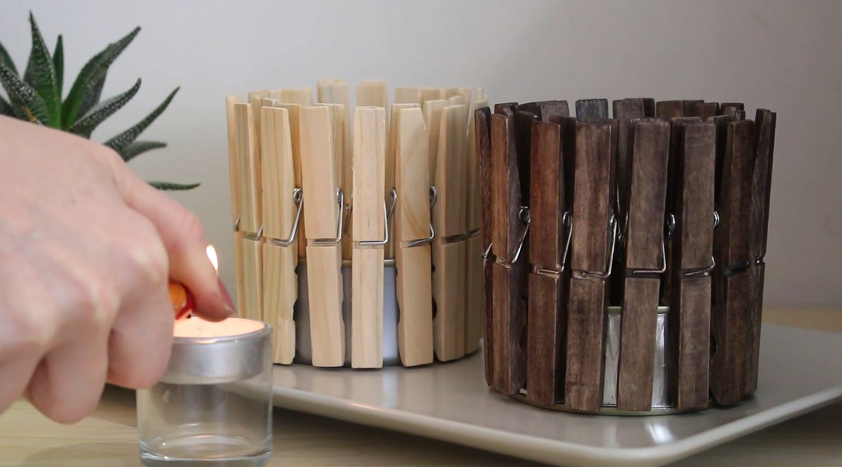 Ikea Wood Cutting Board Make A Quick And Cute Clothespin Candle Holder - Home
