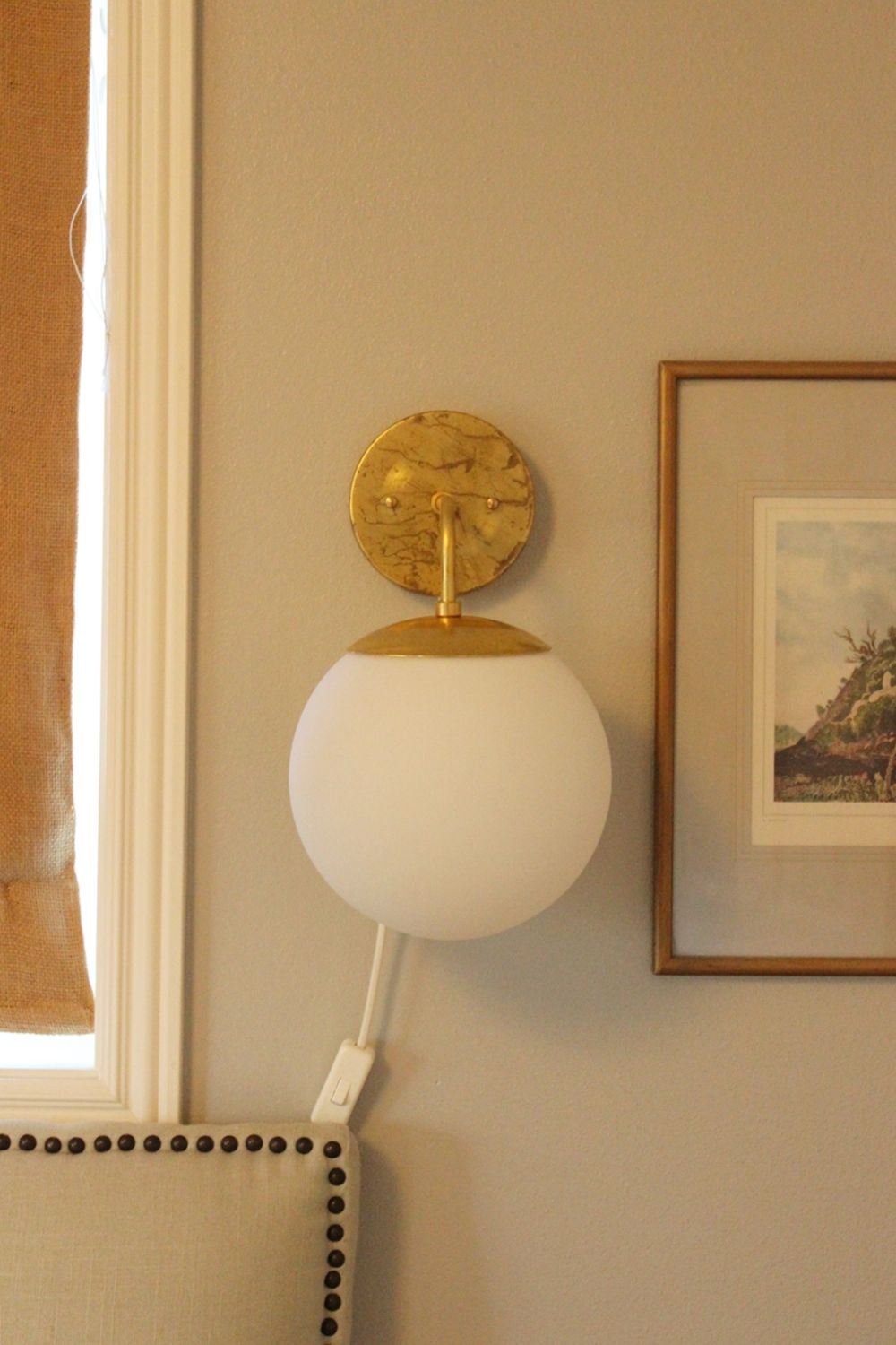Wall Sconce Lights That Plug In Diy Globe Brass Wall Sconce