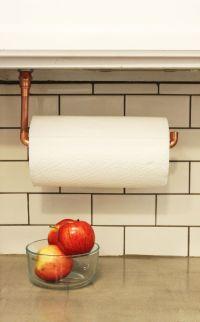 DIY Under Cabinet Hanging Copper Paper Towel Holder