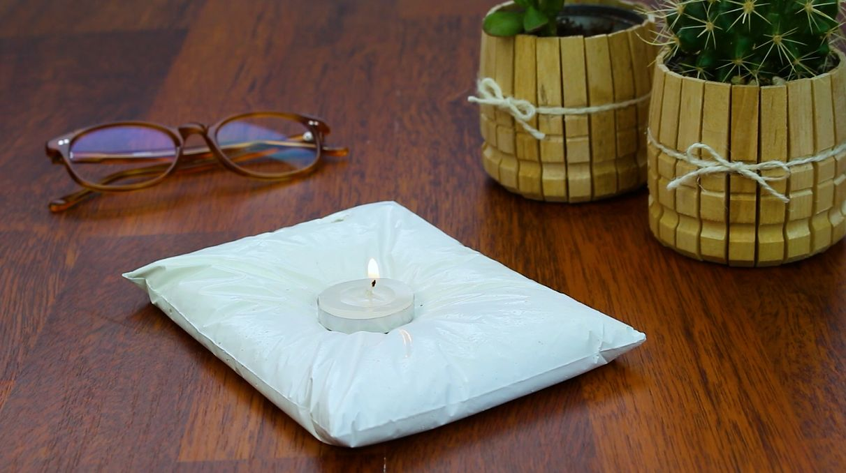 Cutting Kitchen Cabinets Charming Concrete Pillow Style Candle Holder