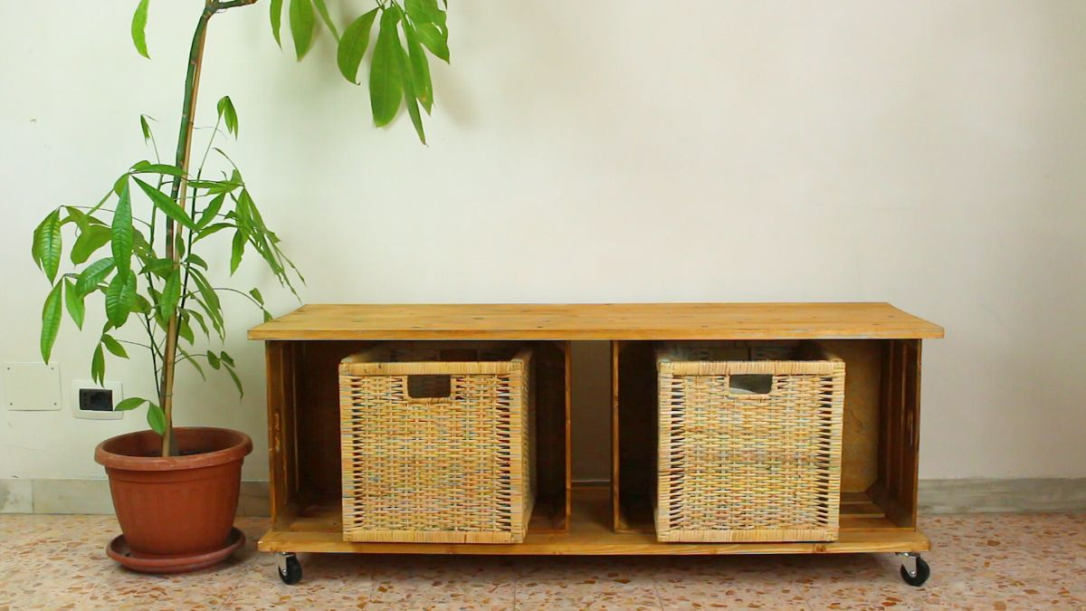 Letter Lamp Transform Wooden Crates Into A Storage Bench