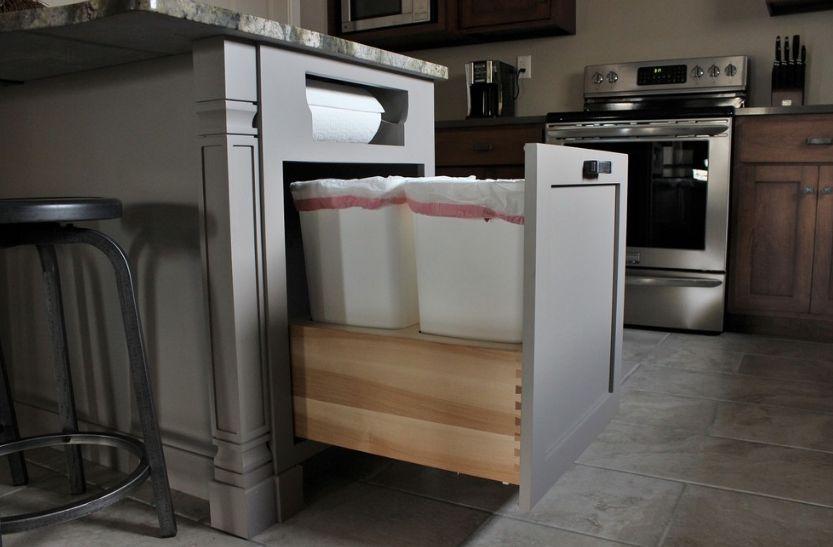 Modern Kitchen Trash Can Ideas For Good Waste Management - kitchen trash can ideas